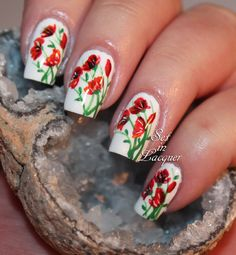 Floral nail art is popping up with poppies - Set in Lacquer