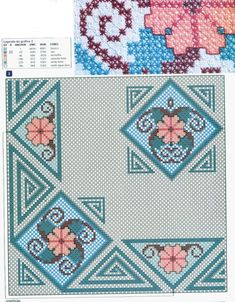 Love these cross-stitched flowers! They're really vintage looking flowers and this design is wonderful! Cross Stitch Borders, Cross Stitch Flowers, Cross Stitch Designs, Cross Stitching, Cross Stitch Embroidery, Cross Stitch Patterns, Chicken Scratch Patterns, Chicken Scratch Embroidery, Embroidery Patterns Free