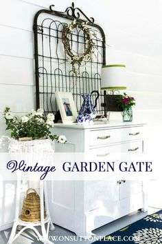 Story of My Vintage Garden Gate Sometimes junk makes the best art. See how this vintage garden gate was used in the decor of a back porch.Sometimes junk makes the best art. See how this vintage garden gate was used in the decor of a back porch. Decor, Farmhouse Decor, Summer Porch Decor, Vintage Garden, Vintage House, Garden Gate Decor, Home Decor, Vintage Furniture, Vintage Decor