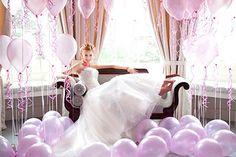 A Marie Antoinette Inspired Balloon Wedding Shoot - Part 2 Bridal Balloons, Wedding Balloon Decorations, Purple Balloons, Balloon Centerpieces, White Balloons, Wedding Themes, Balloon Wedding, Centerpiece Ideas, Latex Balloons