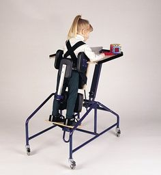 The TumbleForms TUGs prone pediatric stander features an easily adjustable main board, footboards, support blocks, and foot plates. It can support weights of up to 100 lbs and comes with a height- and angle-adjustable tray.