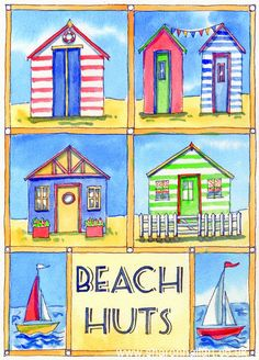 Beach Huts watercolour and ink painting by Sharon Hall.  Available as prints and greetings cards.