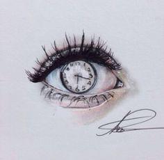 eye, time, sketch, clock, face, art