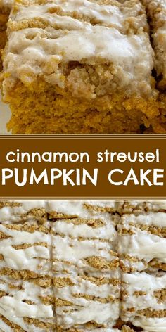 Cinnamon Streusel Pumpkin Cake is the best pumpkin cake, topped with a brown sugar streusel, and finished with a sweet vanilla glaze. Vanilla Glaze, Best Pumpkin, Easy Family Meals, Something Sweet, Desert Recipes, Brown Sugar, Cupcake Cakes, Cinnamon, Yummy Food