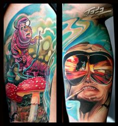 Trippy Fear and Loathing/ Alice in Wonderland piece by Todo Brennan Fear And Loathing, Home Tattoo, Tattoo You, Caterpillar Tattoo, Psychedelic Tattoos, Incredible Tattoos, Awesome Tattoos, Wicked Tattoos, Shoulder Arm Tattoos