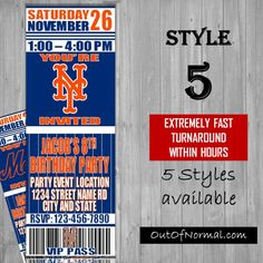 New York Mets Bronx Themed Birthday Invitation by OutOfNormal