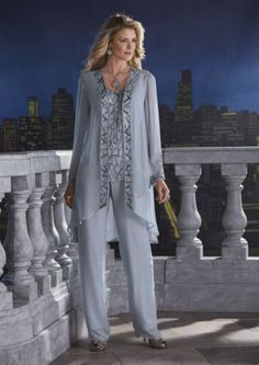 Midnight Velvet 3-Piece Pant Zakira Beaded Set from Midnight Velvet®. Twining lines of metallic beads and sequins meander over the front of the tank top of this 3-piece pant set, and accent the jacket as well.