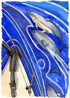 Dolphins at the boat's bow- original watercolour painting by AndreaEnglandArt on Etsy