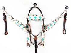 TURQUOISE CROSS BLING WESTERN HORSE LEATHER HEADSTALL BRIDLE BREASTCOLLAR TACK #MRSADDLE