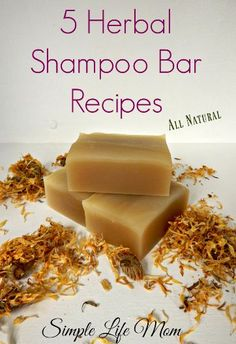 5 Natural, Organic Herbal Shampoo Bar Recipes using herbs and essential oils to make cold process shampoo bars for all hair types. DIY herbal shampoo recipe
