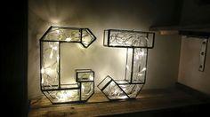 Glass Letter Light - Lighting - Industrial Lighting - Geometric Light - Decorative lamp - Black and White light