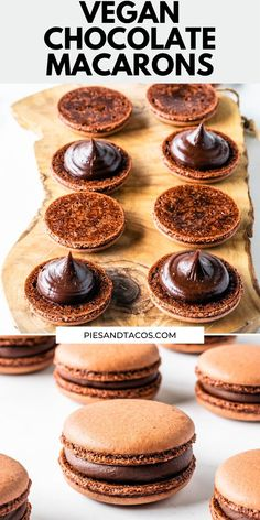 Vegan Chocolate Macarons - - Vegan Chocolate Macarons filled with a Vegan Dark Chocolate Ganache. They are delicious, rich, dairy-free, gluten-free, and perfect to enjoy with a cup of coffee or tea. Healthy Vegan Dessert, Vegan Treats, Delicious Vegan Recipes, Healthy Dessert Recipes, Baking Recipes, Vegan Cookie Recipes, Cookies Healthy, Vegetarian Sweets, Cake Recipes