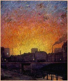 """GUSTAVE CAILLEBOTTE - """"Canal à Gand, essai de soleil couchant"""" (1888)  Huile sur toile (59 x 49)"""