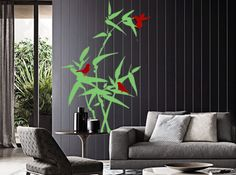 Birds or Butterfly on bamboo. Vinyl wall decals. Wall by CredoArt, $55.00