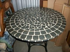 "Atlanta: Patio Table - Stone Mosaic 36"" Top with Iron and Bamboo Base- Nice!! $150 - http://furnishlyst.com/listings/323320"