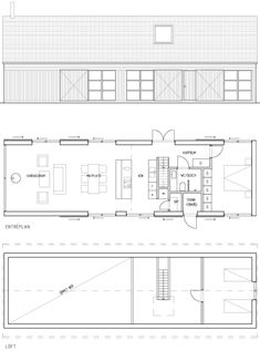 The house Alsen plan Modern Small House Design, Modern Barn House, Barn Style House Plans, House Floor Plans, Cordwood Homes, Casa Patio, Long House, Modular Homes, Prefab Homes
