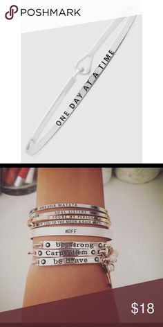 """One day at a time"" Bracelet Brand new! Super cute! 15% off of bundles! FEEL LIKE MAKING AN OFFER? Please do it through the make an offer feature as I will no longer negotiate prices in the comments section. PRICE IS FINAL ON ITEMS $15 or less unless bundled. Hannah Beury Jewelry Bracelets"