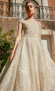 tony ward fall 2020 bridal cap sleeves square neckline full embellishment princess gold ball gown a line wedding dress backless scoop back royal train zv -- Tony Ward La Mariée Fall 2020 Wedding Dresses Couture Wedding Gowns, Wedding Dress Sleeves, Bridal Wedding Dresses, Backless Wedding, Abed Mahfouz, Chanel Cruise, Georges Chakra, Zuhair Murad, Elie Saab