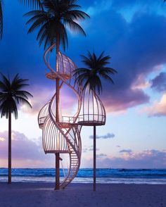 Futuristic Creative Tree House Design on Beach with Palm Coco Tree