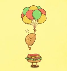 Flying Hamburger by ben6835, via Flickr; funny food art.