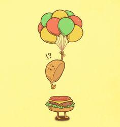 Flying Hamburger by ben6835, via Flickr; funny food art.