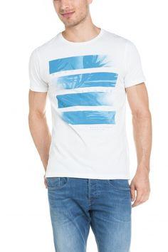 Salsa Store - T-shirt com decote redondo e gráfico frontal Summer Tshirts, Jeans, Tee Shirts, Pastel, Mens Fashion, Bedroom, Sports, Prints, Mens Tops