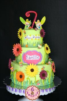 Garden-Fairy Themed Cake using candy clay (wilton candy melts + corn syrup) per Jessicakes blog recipe. There was virtually very little drying time and I was able to attach immediately to the cake. PLUS, kids were able to eat it (vs. gum paste or fondant mixed with tylose). Plus, they have such bright colors now I didn't have to color them. Garden Theme Cake, Garden Cakes, Beautiful Cakes, Amazing Cakes, Pink Cake Box, Wilton Candy Melts, Cake Name, Fairy Cakes, Cake Central