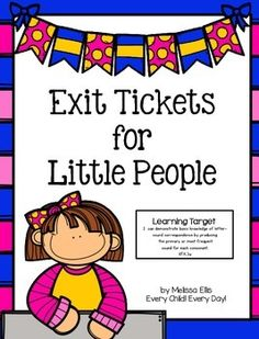 Exit tickets (exit slips) provide a quick and easy way to assess students' understanding of a lesson. This packet provides an assessment for all 26 letters. A weekly checklist, to record the results of exit slips, is also provided. I have included a sample checklist for you.