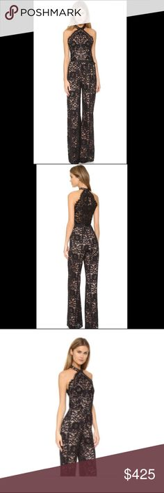 Alexis Rene halter lace jumpsuit This is an Alexis Rene lace black jumpsuit, size small. This item is sold out everywhere after being aired on total divas as the Bella twins wore this jumpsuit. It is incredibly comfortable and can be worn casual or formal! Also has lining so it is not see through and does come with the silk bow as shown in the pictures. Only worn once in brand new shape originally paid 699. Alexis Dresses