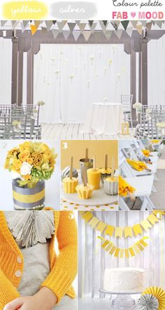 Something about the color yellow matches up so perfectly with the modern aesthetic, doesn't it? This palette is for all you brides out there that seriously can't get enough of the silver yellow colors palette