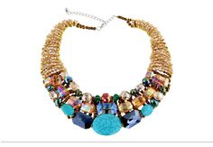 Handmade Turquoise and Crystal Bead Handcrafted Statement Choker Necklace