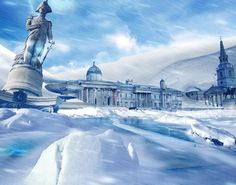 5 Terrifying Photos That Show What Britain Would Be Like During A Natural Disaster | A frozen Trafalgar Square.