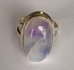 Moonstone Ring, Beautiful Sterling Silver Genuine Purple Rainbow Moonstone Oval Ring, Sterling Silver ring size 10, 925 Silver Ring