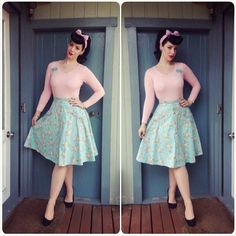 Miss Victory Violet in the Voodoo Vixen Kendall skirt 50s Outfits, Pin Up Outfits, Cute Outfits, Vintage Clothing Uk, Vintage Dresses, Vintage Outfits, Vintage Inspired Fashion, 1960s Fashion, Vintage Fashion