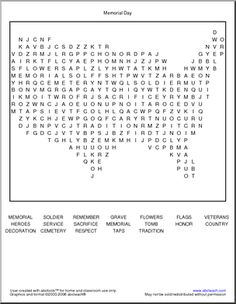 Memorial Day Word Search - Free Printable Worksheets, Interactives, and Activities for Kids this summer!
