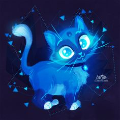 Sapphire Kitty by LilaCattis on DeviantArt Beautiful Comments, Fox And Rabbit, Cute Fantasy Creatures, Anime Ships, Great Pictures, Warm Colors, Cat Art, Art Sketches, Really Cool Stuff