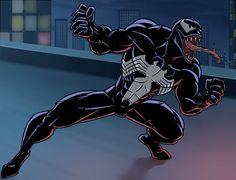 spiderman cartoon spider man the animated series venom by stalnososkoviy Spiderman Black Suit, Venom Spiderman, Marvel Venom, Spiderman Art, Amazing Spiderman, Marvel Art, Kraven The Hunter, Venom Art, Venom Comics