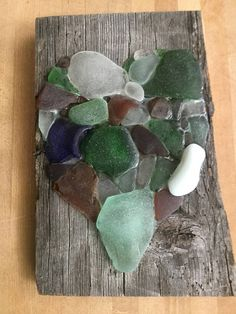 Real Sea Glass Heart on Old Barn Wood Picture / Beach Decor /