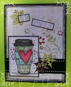 """Unity Stamp Co. set """"Love. to Go""""  by Angie Blom. Snowflakes are from Martha Stewart punches."""