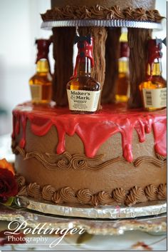 awesome groom's cake. Cody would love it! I can see him putting Canadian mist on it just cause it's cheaper hahahaha..reasons why I love him :)