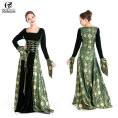 Stunning Renaissance/ Medieval dark green dress with dark green and gold printed accents make this a special addition to your costume collection. This is a one