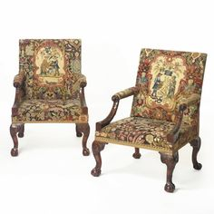 AN IMPORTANT PAIR OF GEORGE II CARVED MAHOGANY LIBRARY ARM CHAIRS WITH NEEDLEWORK COVERS circa 1755 Estimate 250,000 — 350,000 USD