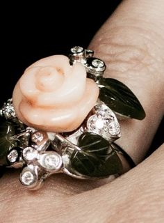 Flowers die, but this rose lasts forever!   Coral and Jade Leaf, Diamond Ring - Jewellery by GemsBcoLtd