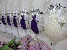 Personalized Bridesmaid Glasses – Hand Painted to replicate the details of your wedding gown, bridesmaid dresses, tuxes flowers and other details of your wedding {www.samdesigns.net} , $17 ea.