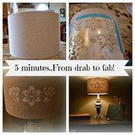 Stenciled lampshade {DIY} - Debbiedoos  -- #diy #lamshade #makeover