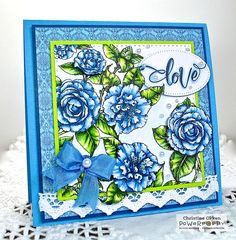 ChristineCreations: Wedding Bell Blues - Simply Camellias stamp set by Power Poppy, card designn by Christine Okken.