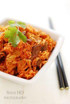 stir fried kimchi beef rice...