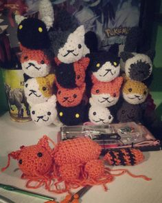 2nd generation of cats are coming along nicely :D  #crochet #amigurumi #craft #cat #nekoatsume #yarn #smokey #shadow #fred #snowball #sunny #pumpkin #callie #spots #tabitha #bandit #gabriel #lexy #marshmallow by cmzcrochet