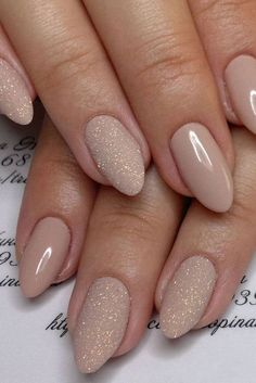 Nude & Glitter Wedding Nails for Brides / http://www.himisspuff.com/wedding-nail-art-desgins/ #NailArtForWeddings #weddingnailsforbrides
