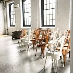 Our copper and white metal chairs make for an interesting ceremony set up.  industrial, industrial furniture, industria lwedding, philly wedding, philadelphia wedding, wedding rentals,  vintage rentals, specialty rentals, maggpie, maggpie rentals, industrial furniture, copper chairs, handmade, maggpie builds, Crane Arts, The Ice Box Weddings